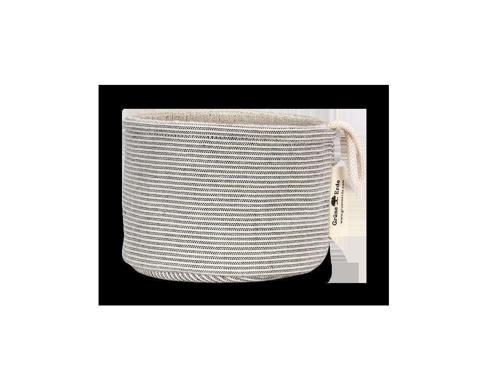 Kleiner Badezimmerkorb Aus Gestreiften Einseitigem Stoff, Graphit, 100 %  Baumwolle GOTS
