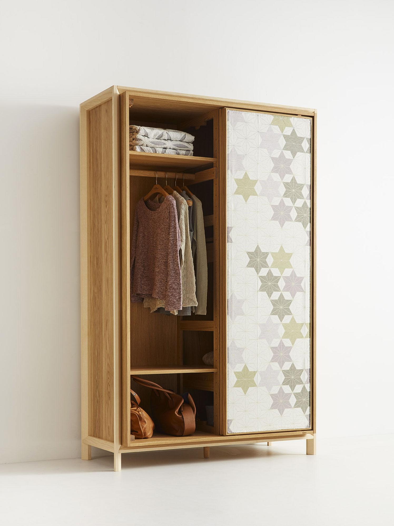 Asanoha Kleiderschrank 2-türig, Eiche, Türen mit Holz ...