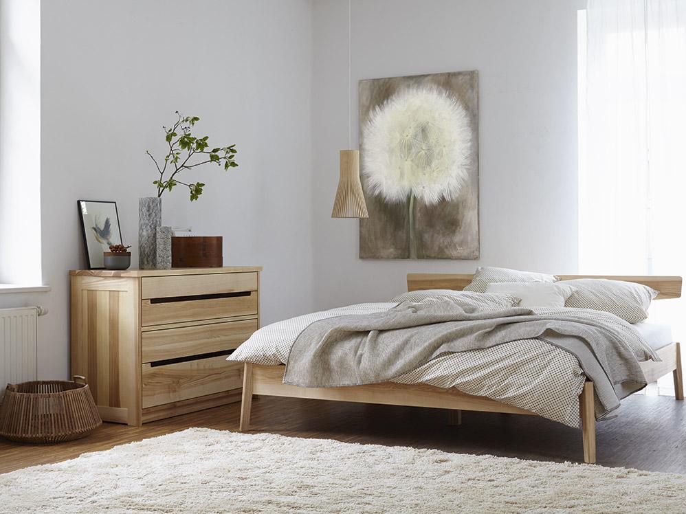 Grune Erde Bett Alpina : Bett Arne, Kernesche, 180x200 cm, mit Kopfhaupt  Grüne Erde