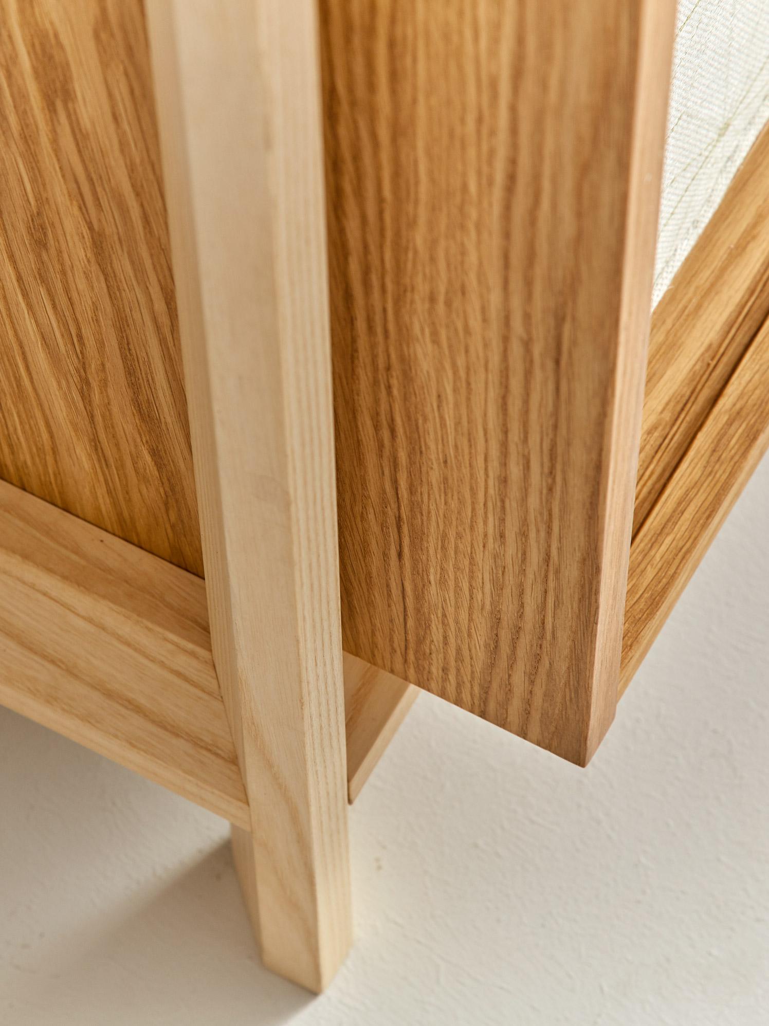 Asanoha Kleiderschrank 2-türig, Eiche, Türen mit Stofffüllung, B ...