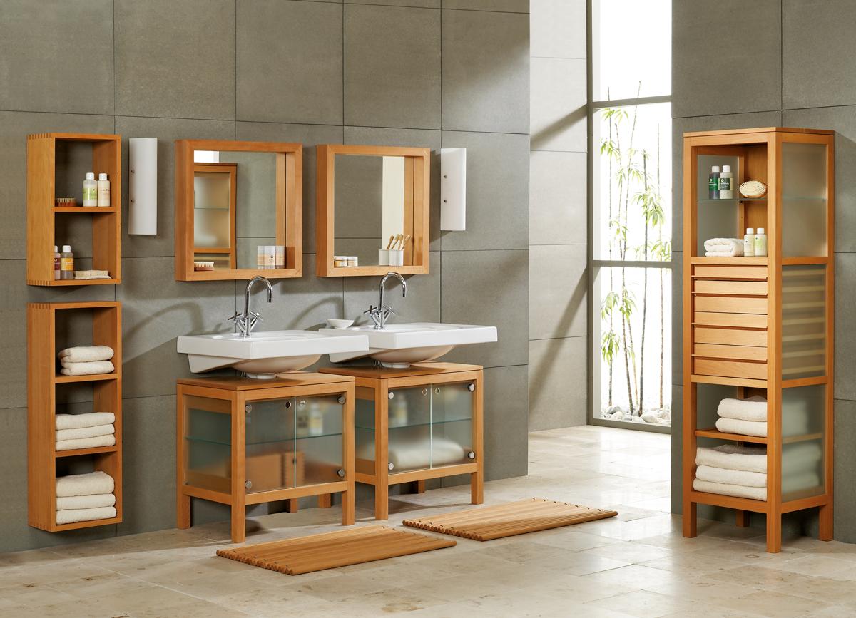 Badezimmerregal Galanto mit Glastüren und Sifonausnehmung, Buche ...