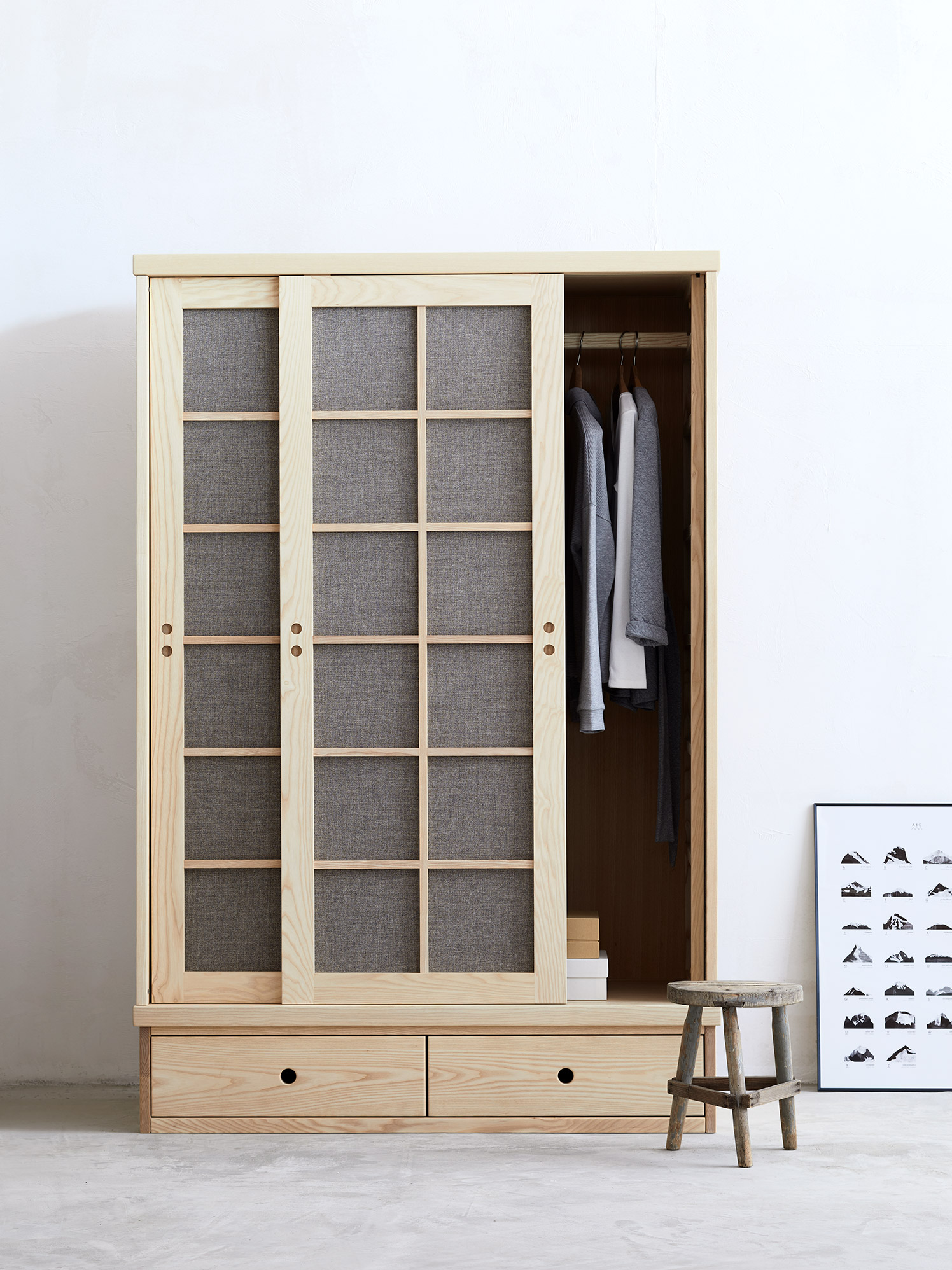 2-türiger Kleiderschrank Baumkrone inkl. Ladenkonsole ...