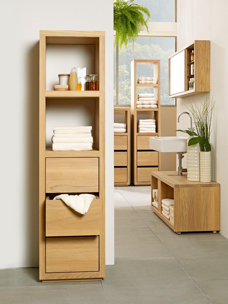 Fesselnd Badezimmerschrank Simply Oak Niedrig Mit 3 Laden Und Einem Fach, 42x42x122  Cm, Eiche