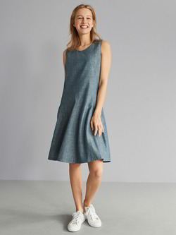 Kleid-godets, denim chambray