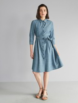 Kleid, denim chambray