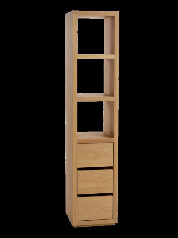 Badezimmerschrank Simply Oak Hoch Mit 3 Laden Und Drei Fächer, 42x42x198  Cm, Eiche