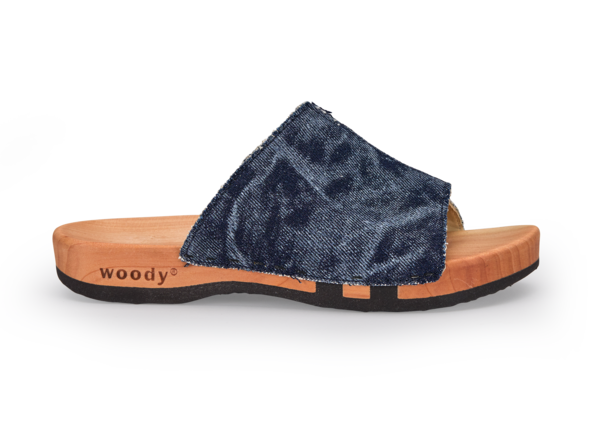 Denim Pantolette mit Holzsohle, 36 dark denim