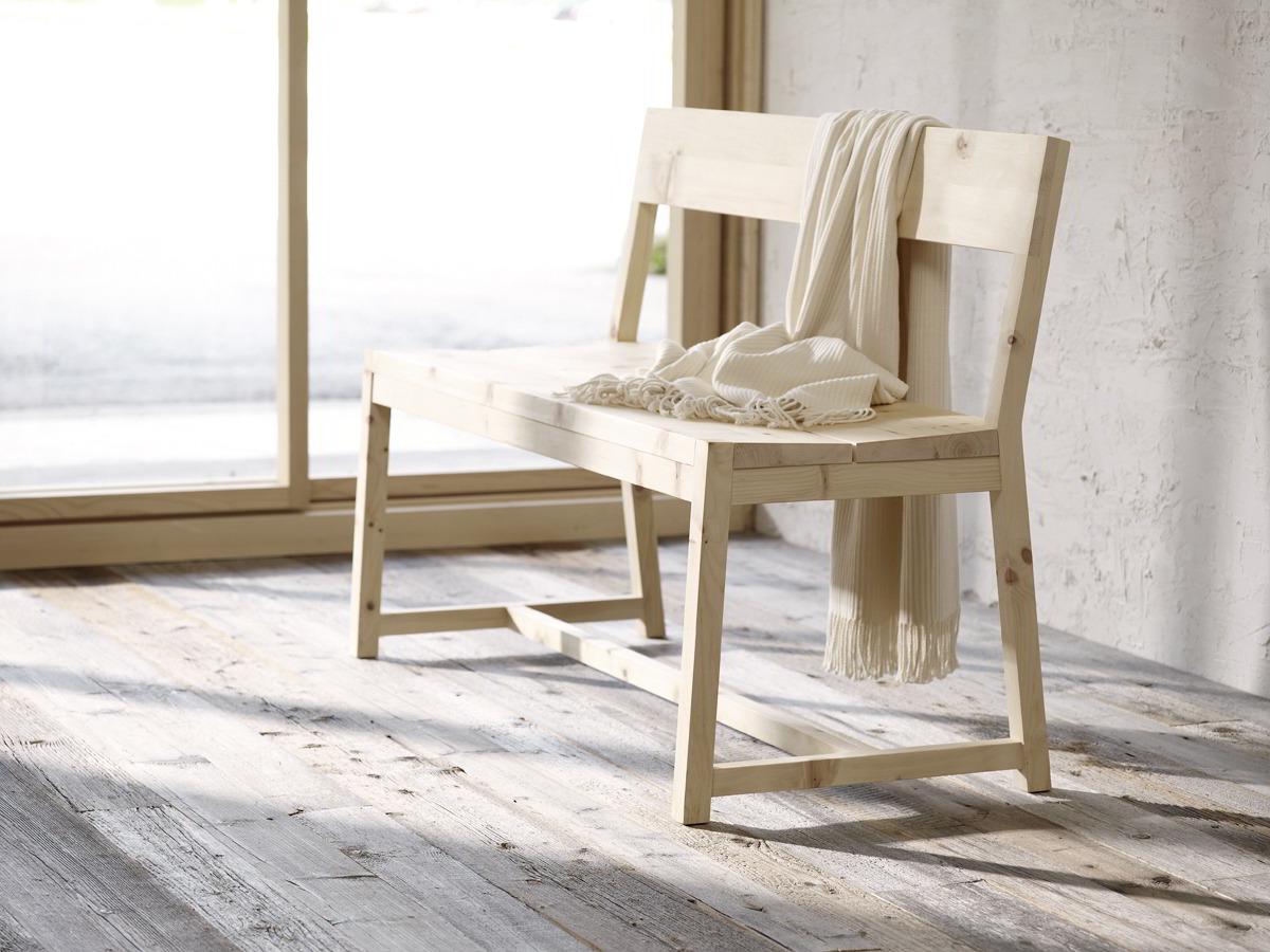 bank alpina mit lehne zirbe gr ne erde. Black Bedroom Furniture Sets. Home Design Ideas