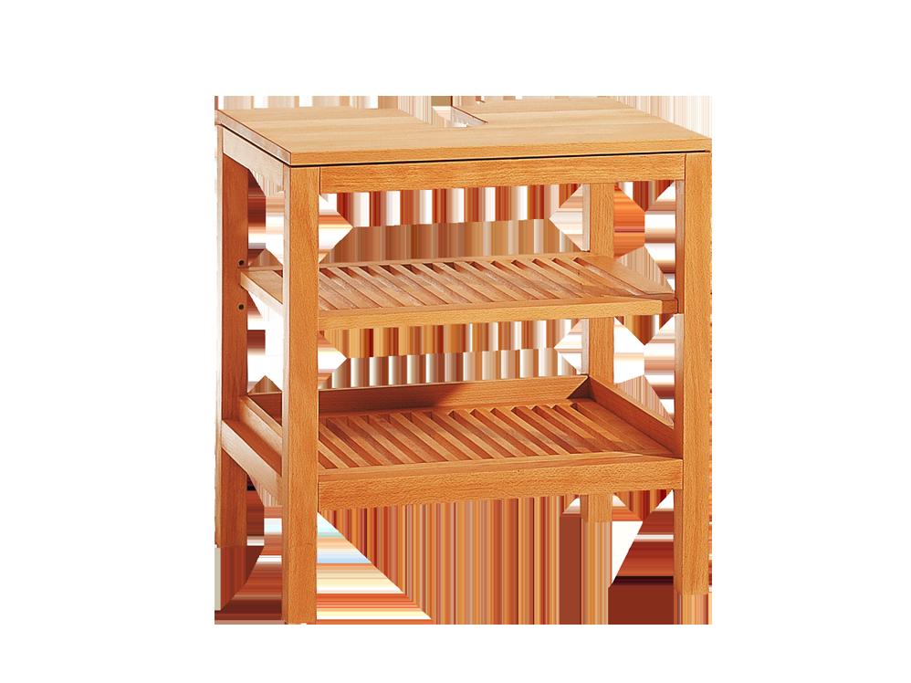 Badezimmerregal Galanto mit 2 Holzrostablagen und Sifonausnehmung, Buche