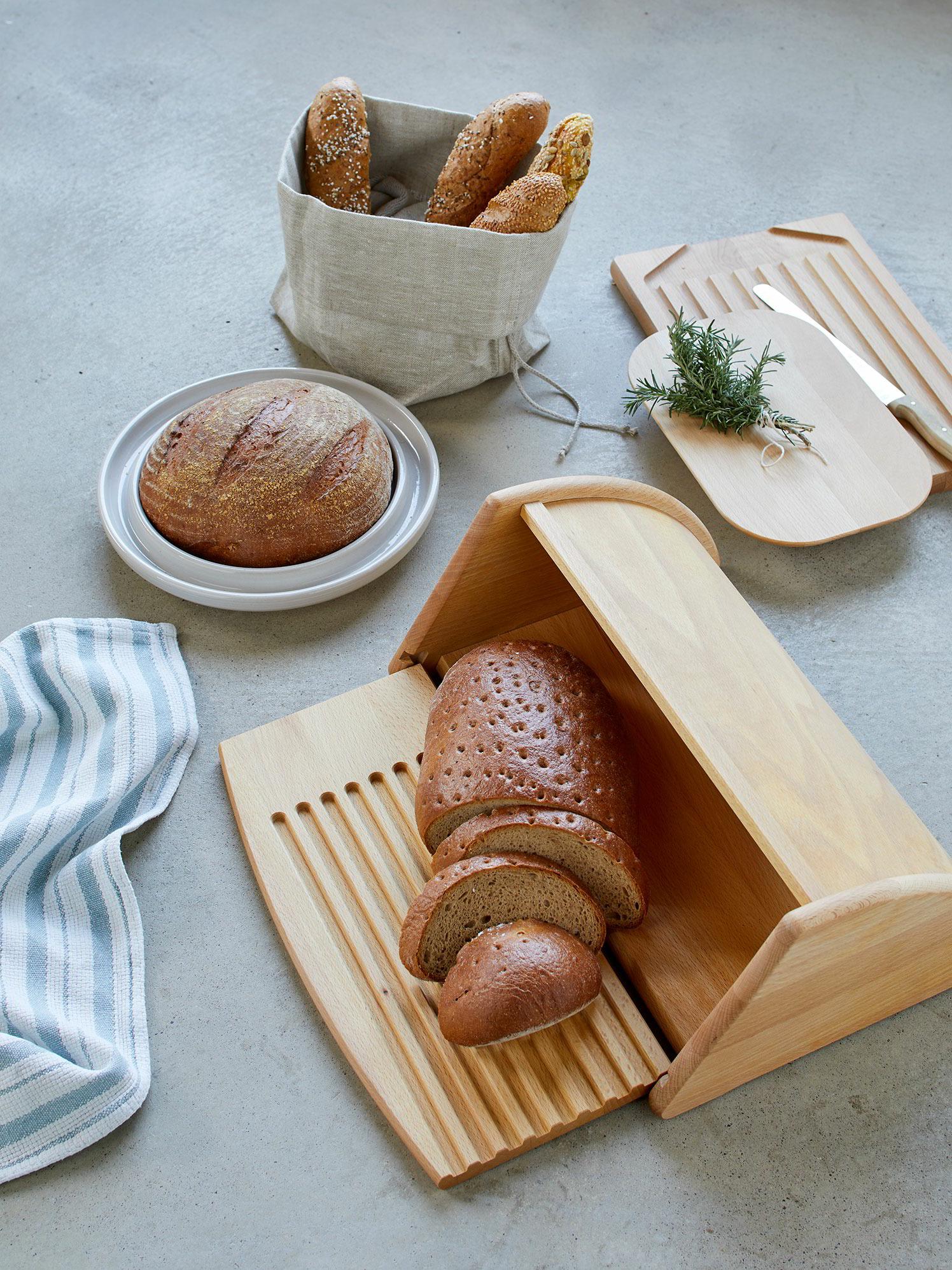 Hölzerner Brotkasten mit Rolloberseite für die Lagerung von Laib groß Grün