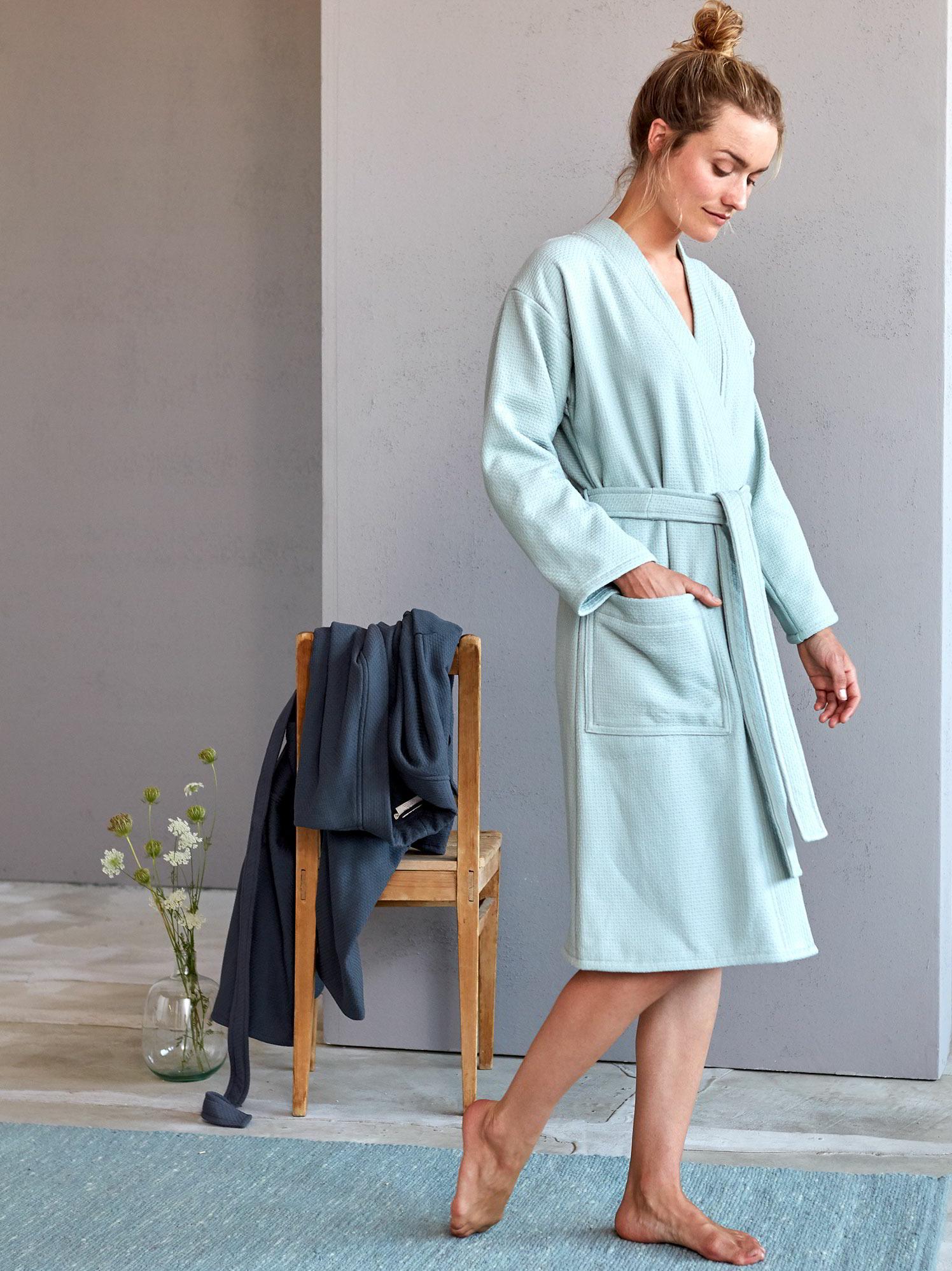50% Preis billiger Verkauf neueste art Bademantel Waben-Struktur Damen, 100 % Baumwolle, GOTS